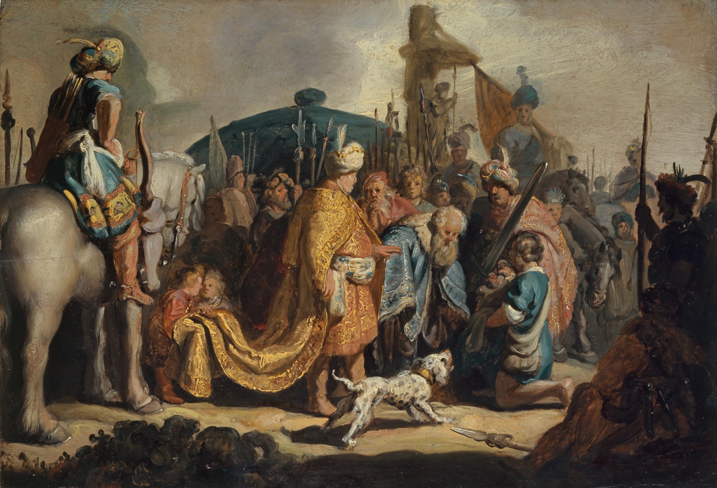 Rembrandt Harmensz. van Rijn, David übergibt Goliaths Haupt dem König Saul, 1627. Kunstmuseum Basel