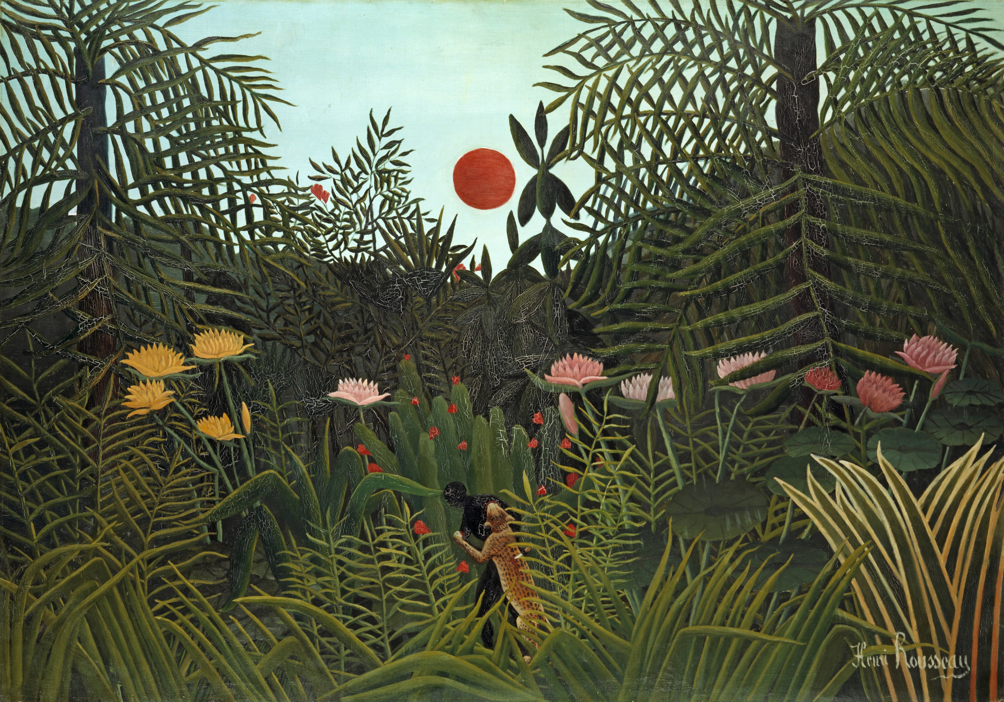 Henri Rousseau (Le Douanier), Jungle with Setting Sun, 1910. Kunstmuseum Basel
