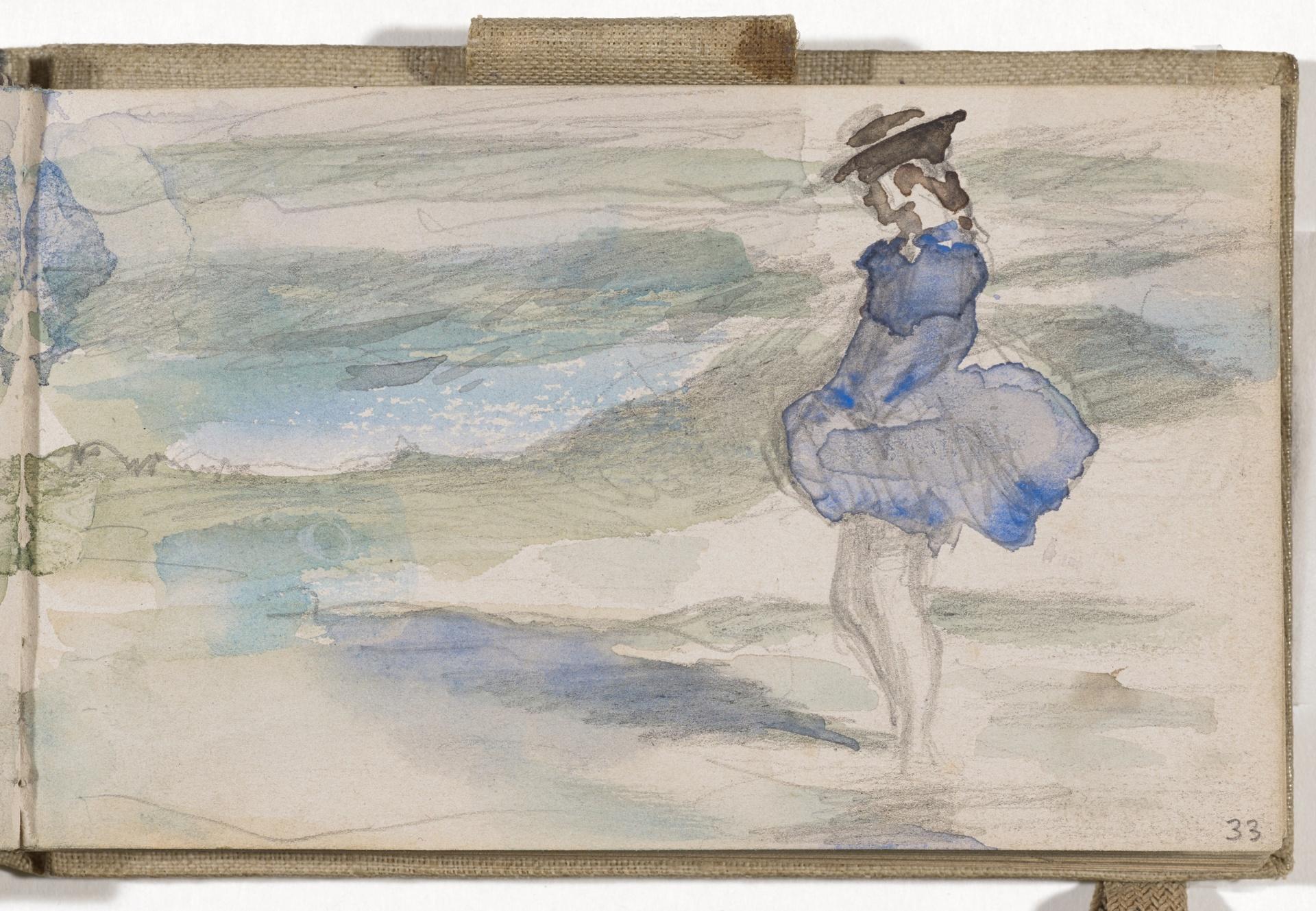 Frank Buchser, Mädchen im Küstenwind, 1876.