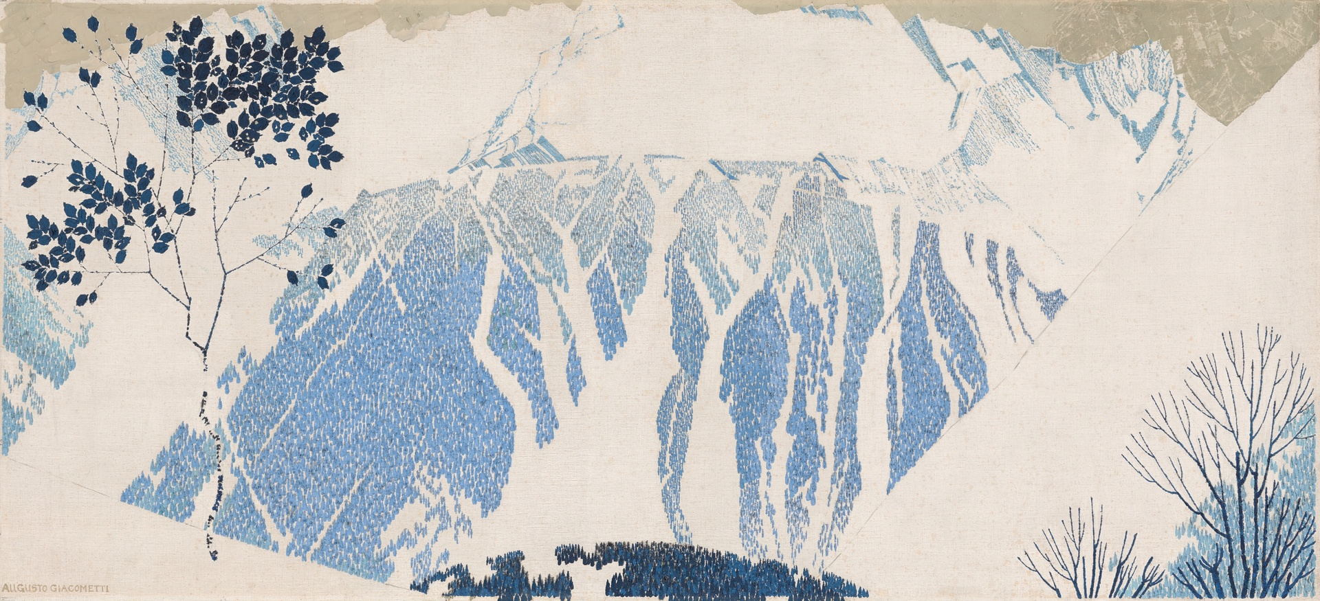 Augusto Giacometti, Mountains, 1904, oil on canvas, wooden frame painted by the artist 82.2 x 179.8 cm signed lower left: Augusto Giacometti, signed and inscribed on the back of the frame: Augusto Giacometti