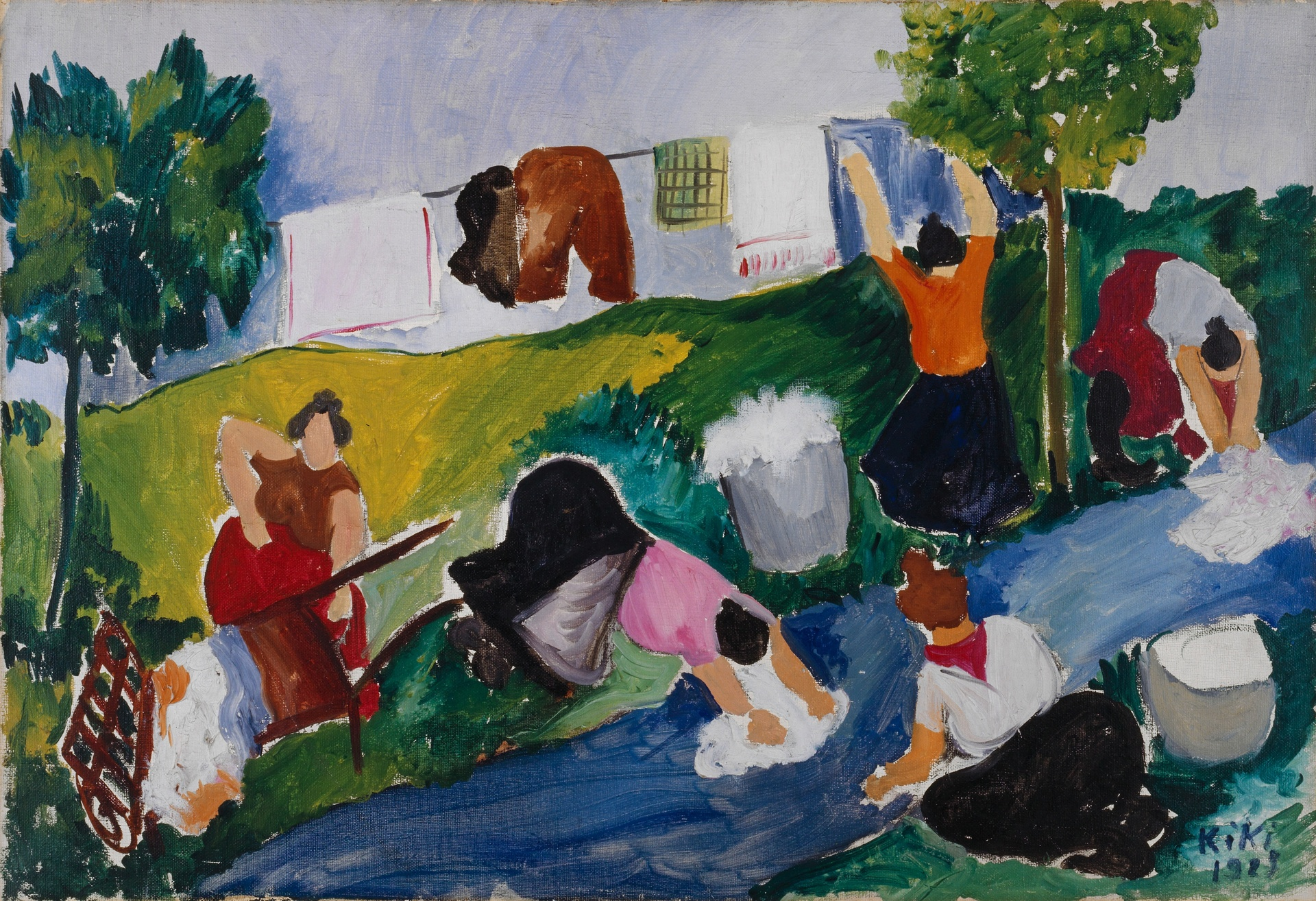 Kiki Montparnasse (Alice Ernestine Prin), Les lavandières, 1927, Öl und Bleistift auf Leinwand, Kunstmuseum Basel- Stiftung Im Obersteg, Depositum im Kunstmuseum Basel