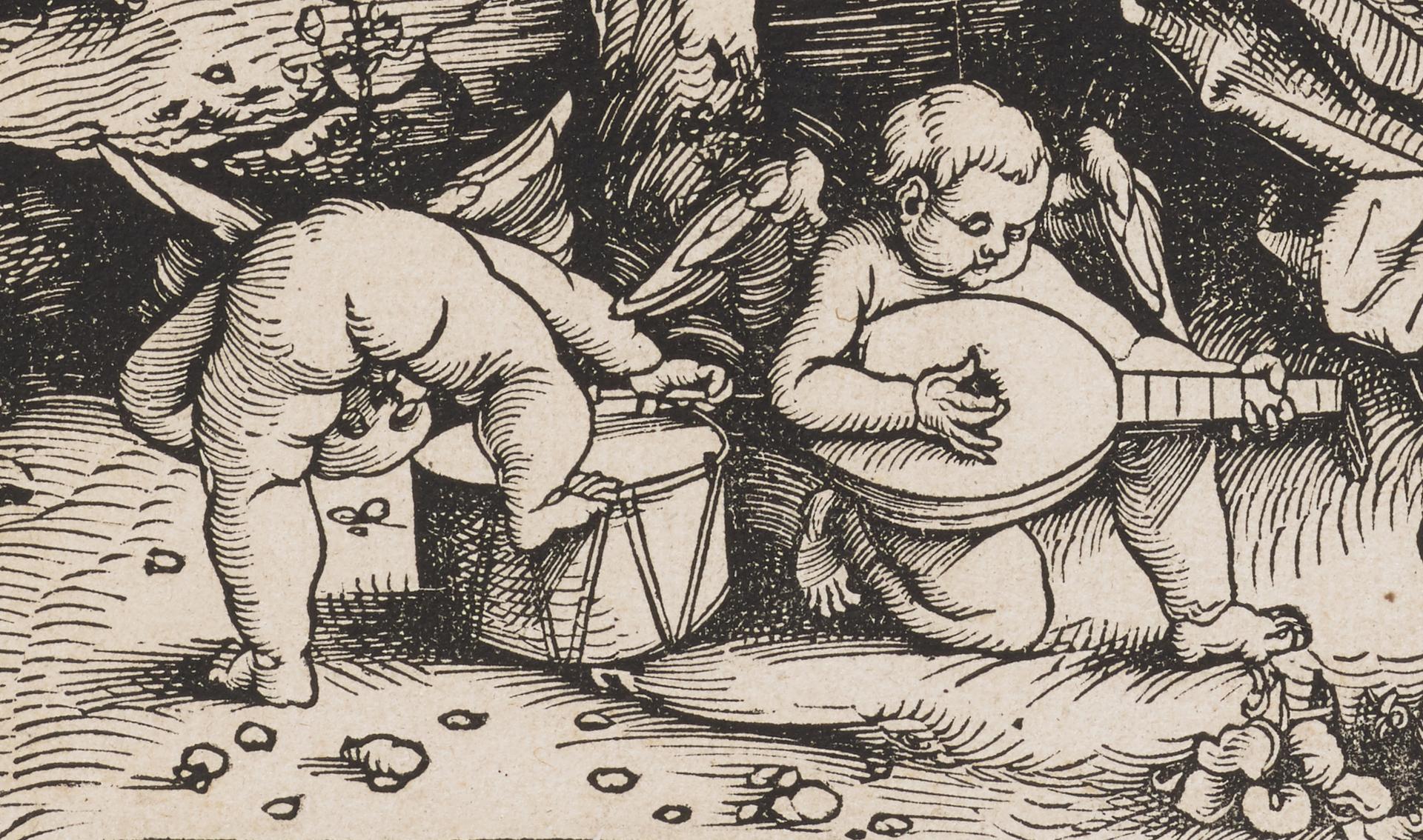 Hans Baldung gen. Grien, Lesende Maria mit Kind und Engeln in einer Landschaft (um 1511)