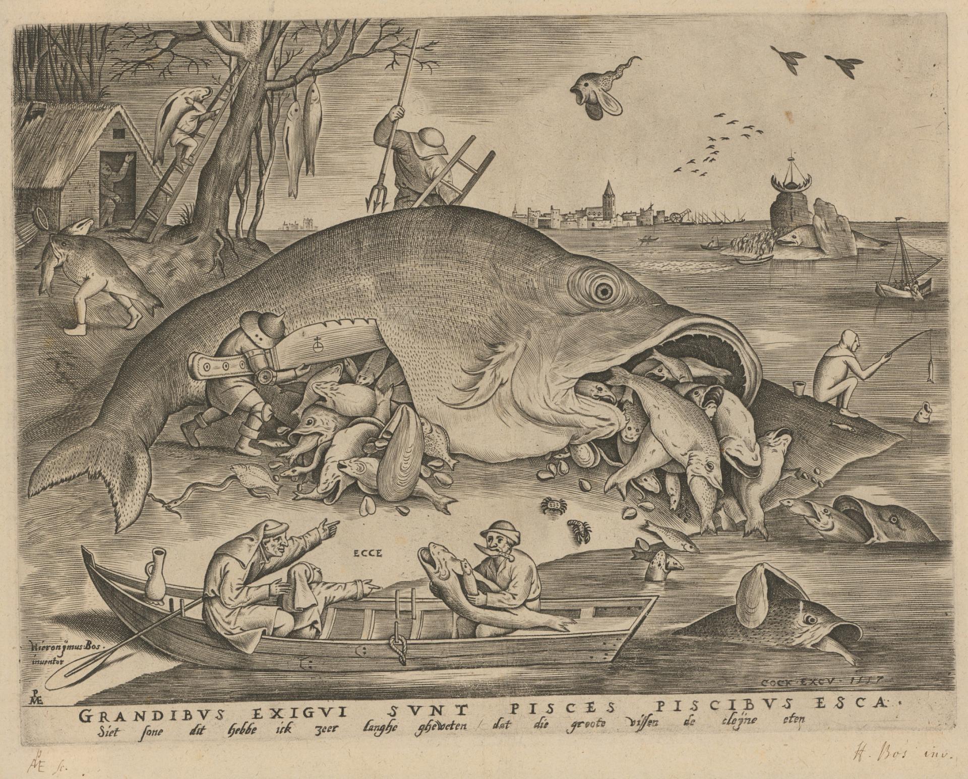 Pieter Bruegel d.Ä., Die grossen Fische fressen die kleinen Fische, 1557, Kupferstich, 26.7 x 34.6 cm, Kunstmuseum Basel, Kupferstichkabinett