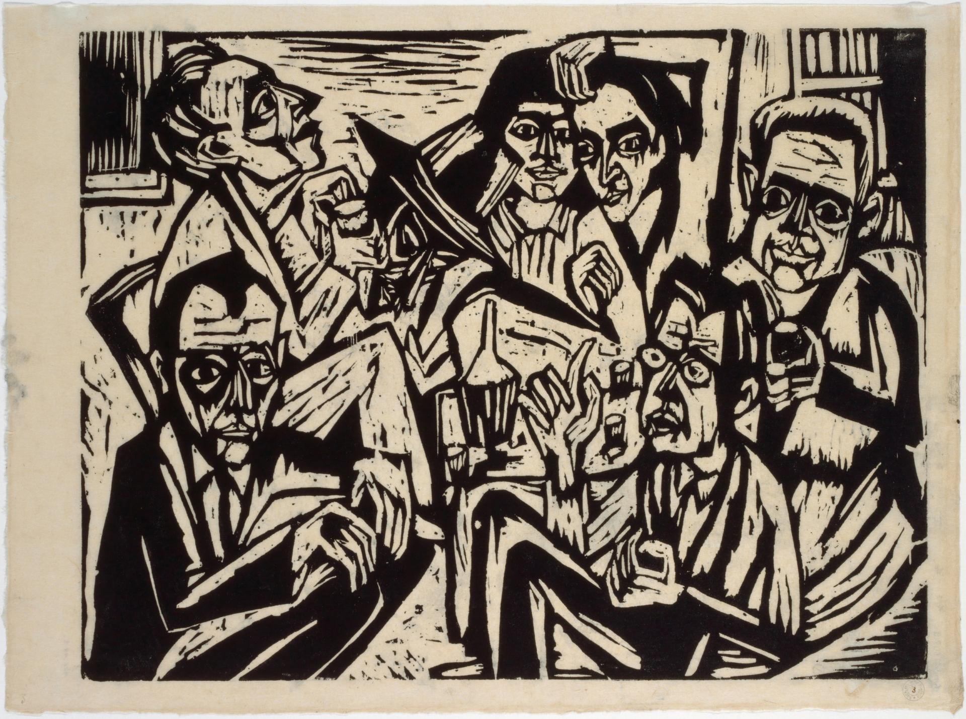 Hermann Scherer, Atelierfest, um 1924/25, Holzschnitt in Schwarz auf Japanpapier, 46 x 62,2 cm, Kunstmuseum Basel, Kupferstichkabinett