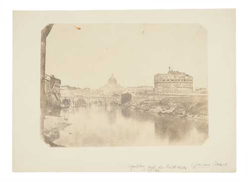 Giacomo Caneva, Castel Sant'Angelo, the Basilica of St Peter and the Tiber river in Rome, salted paper print, 1845–1855© as a collection by Jacques Herzog und Pierre de Meuron Kabinett, Basel.