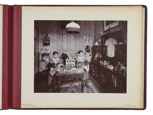 Album of a burgeois family in Berlin, Zander & Labisch, Two boys in the playroom, collodion POP, 1902 (Album: 1900–1910)© as a collection by Jacques Herzog und Pierre de Meuron Kabinett, Basel.