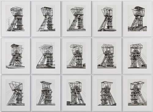 Bernd und Hilla Becher, Shaft Towers, silver gelatine prints on baryta paper, 1967–1982